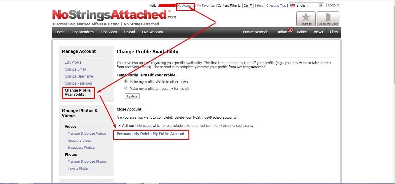 nostringsattached.com delete account